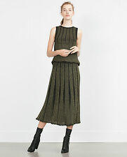 ZARA GOLDEN ACCORDION PLEAT SKIRT FW15 SIZE L LAST SIZES TOP AVAILABLE TOO