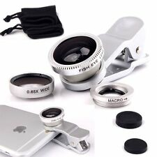 Silver-3in1 Fish Eye Wide Angle+Macro Camera Clip-on Lens for iPhone 6/Plus/5S/5