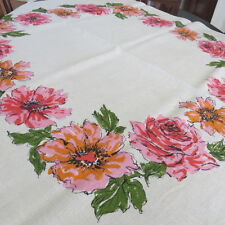 Vintage Mid Century Modern Tablecloth - Red Pink Orange Roses Flowers Oatmeal