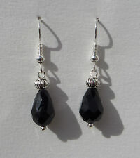 SMALL FACETED BLACK GLASS DROP EARRINGS WITH SILVER PLATED DETAIL ...HOOK