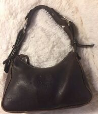 Dooney Bourke Chocolate Brown Hobo Shoulder Bag Purse Leather Wide Strap
