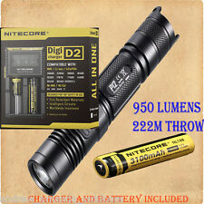 Nitecore P12 Cree XM-L2 LED Flashlight - w/D2 Digicharger & NL188 3100mAh 18650