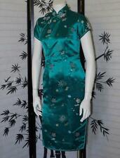 Chinesse Cheongsam Dress 34 S authentic China open leg slit emerald green