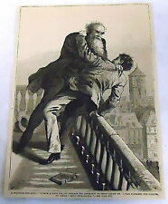 1878 magazine engraving ~ A STRUGGLE FOR LIFE ~ men fight on balcony