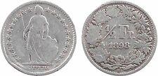 Suisse, Confédération Helvétique, 1/2 franc, 1898 Berne, argent - 124
