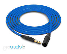 Canare Quad L-4E6S Cable | Neutrik Gold TRS XLR-M | Blue 250 Feet | 250 Ft. 250'