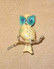 Rare Weiss Enameled Owl Pin with Rhinestone Eyes