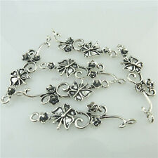 18897 12X Vintage Silver Flower Leaf Butterfly Pendant Connector Jewelry Finding