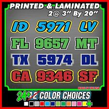Custom Snowmobile Registration ID Numbers Letter Vinyl 3 COLOR Stickers Decals