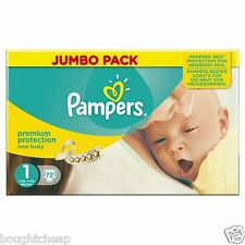 Pampers New Baby Jumbo Nappies - Size 1 (Newborn), Pack  - UK SELLER - BRAND NEW