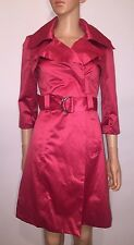 BEBE Women's Red Pink Satin Silky Dressy Trench Coat Belted Jacket Long Sz XS 2