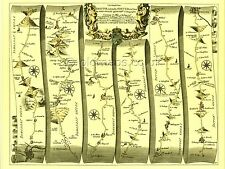 Bristol to Exeter inc. Wells, Taunton, Glastonbury  Replica 17c OGILBY Old  Map