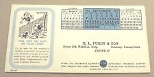 SUNBURY, PA SEPTEMBER 1952 H. L. PURDY & SON AETNA INSURANCE INK BLOTTER
