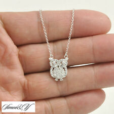 """Sterling silver .925 small OWL set CZ pendant with 18"""" necklace Rhodium finish"""