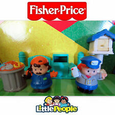 Fisher Price Little People Trash Mail box Can Man Bench Home Garden Rare Playset