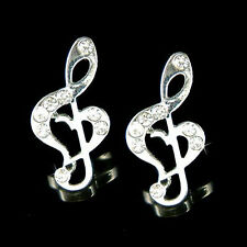 w Swarovski Crystal Heart Treble g Clef Music Note Musical Jewelry Post Earrings