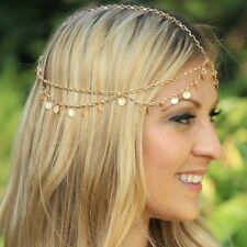 Gypsy Metal Round Circle Head Tassel Chain Headpiece Headband Hair Cuff Band Hot