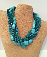 TANGLED TURQUOISE BEAD & STONE MULTISTRAND STATEMENT NECKLACE & EARRING SET