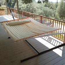 New Outdoor Swing Quilted Double Bar Pillow Hammock Patio Camping Bed Beige