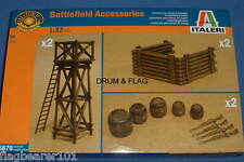 ITALERI 6870 - BATTLEFIELD ACCESSORIES. 1:32 SCALE. 56 UNPAINTED PLASTIC PARTS.