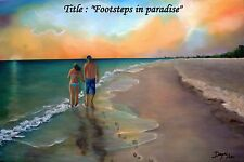 "Oil Painting ""Footstep on the sand""  12"" x 18"". Buy 1 get 2nd 20% off."