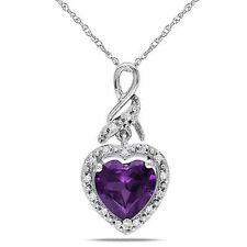 """10k White Gold Created Alexandrite and Diamond Accent Heart Pendant Necklace 17"""""""