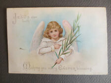 Antique EASTER Greetings Card Angel with Wings Child W Hagelberg Berlin