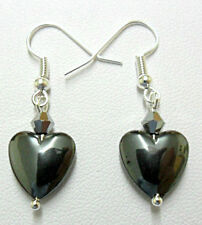 Dangle earrings - 12mm. Hematite heart + glass bead