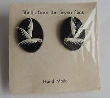 Estate Shells From The Seven Seas Hand Made Carved Screw On Earrings