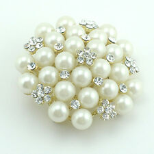 14k yellow Gold GF white pearls Swarovski elements crystals brooch pin
