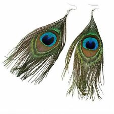 Long Ressort Sexy Ethno Boucles d'oreilles Imposant Paon Plumes de paon vert