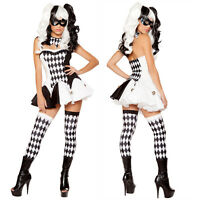 Black White Devious Harlequin Jester  Clown Fancy Dress Ladies Halloween Costume
