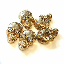 Iron-On HOT-FIX Metal Skull Studs With Diamante/Diamonds