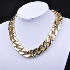 USA 18k Gold Plated Chunky Statement Chain Women Pendant Necklace Bib Choker