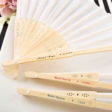 30 - Personalized White Silk Folding Fan - Beach Wedding Favor