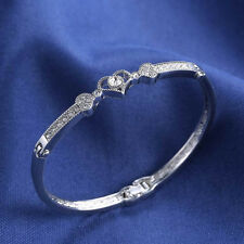 Vintage Crystal Rhinestone Heart Bangle Silver Plated Bracelet Jewelry Gift
