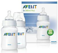 Philips Avent 9oz/260ml Classic Feeding Baby Bottle TWIN Pack SCF683/27
