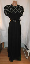 40s Black Chiffon over Acetate Gown w/White Bodice Beading Sz S-M AS-IS