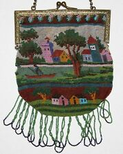 Antique Micro Beaded Scenic Purse, Boat,River,Cottages