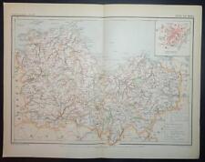 1891 impression antique carte en couleurs de Côtes-du-Nord Saint-Brieuc France carte française