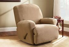 Stretch Recliner slipcover dark flax tan rib by Sure fit surefit
