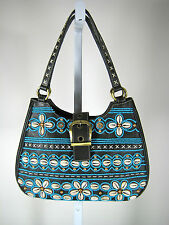 AUTHENTIC ISABELLE FIORE Black Leather Sea Shell Beaded Handbag