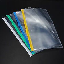 2x  Paper File Folder Book Pencil Pen Case Bag Pouch Plastic Clear Portable