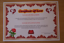 Certificate Of Love (A4 130gms matt photo paper)