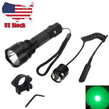 2500LM C8 Green Light CREE LED Hog Night Hunting Flashlight Rifle W/Scope Mount
