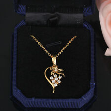 Floral Heart Necklace Girl Crystal Pendant Trendy Accessory Gold Filled