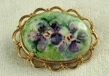 VINTAGE PORCELAIN PANSY FLOWER OVAL BROOCH PIN SCALLOP SETTING