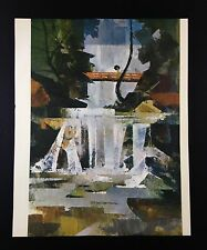 "1966 Vintage Japanese Full Color Art Plate ""A WATERFALL MIYAJIMA"" McIntyre Litho"
