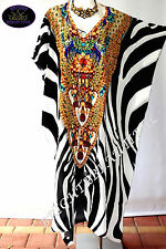 Kaftan crystal Emellished designer dress 16/22+ midi silk crepe mix new zebra