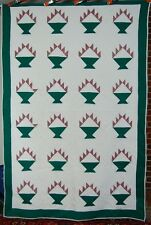 VIBRANT 40's Green & White Cake Stand Fruit Basket Antique Quilt ~NICE QUILTING!